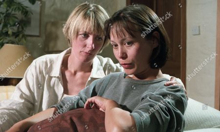 Emma is trying to convince a distraught Zoe to report the attack by Ken, but she doesn't think that the police will take her seriously - With Zoe Tate, as played by Leah Bracknell ; and Emma Nightingale, as played by Rachel Ambler. (Ep 2002 - 22nd August 1995).