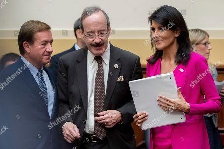 Ed Royce, Eliot Engel, Nikki Haley From left, House Foreign Affairs Committee Chairman Rep. Ed Royce, R-Calif., the committee's ranking member Rep. Eliot Engel, D-N.Y., and U.S. Ambassador to the UN Nikki Haley arrive on Capitol Hill in Washington, for a the committee's hearing on advancing U.S. interests at the United Nations, where Haley was to testify