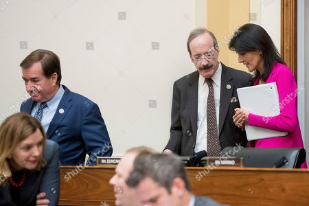 Ed Royce, Eliot Engel, Nikki Haley U.S. Ambassador to the UN Nikki Haley, right, follows House Foreign Affairs Committee Chairman Rep. Ed Royce, R-Calif., left, and the committee's ranking member Rep. Eliot Engel, D-N.Y., on Capitol Hill in Washington, as she arrives to testify before the committee's hearing on advancing U.S. interests at the United Nations