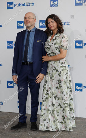 RAI (Italian State Television) conductors Geppi Cucciari and Massimo Gramellini pose during the presentation of TV programs that will be aired in the next fall, in Milan, Italy