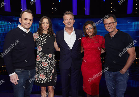 Stock Image of (l-r) Todd Carty, Joanne Pavey, host Bradley Walsh, Saira Khan and Dominic Holland