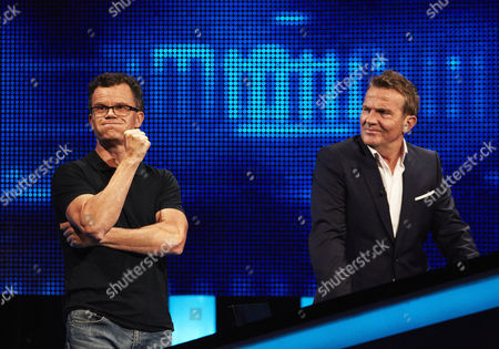 Stock Picture of Dominic Holland and host Bradley Walsh face The Chaser