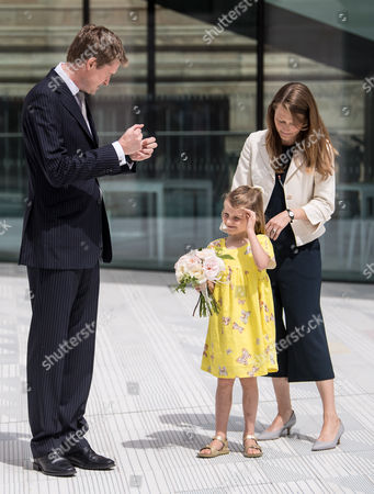 Stock Picture of Tristram Hunt with his daughter Lydia Hunt