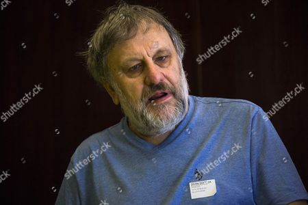 Slovenian philosopher Slavoj Zizek addresses a press conference before he delivers a speech on death and resurgence of fascism at Reina Sofia Museum, in Madrid, Spain, 29 June 2017.