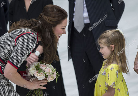 Catherine Duchess of Cambridge arrives, as she visits the new entrance to the V&A Museum.