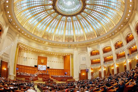 Stock Picture of A general view of Romania's Parliament hall during a vote for new government headed by Romania's Prime Minister-designate Mihai Tudose in Bucharest, Romania, 29 June 2017. Mihai Tudose was designated Prime Minister by Romania's President Klaus Iohannis after the main ruling party PSD (Social Democratic Party) proposed him as premier. The previous government, directed by Sorin Grindeanu, was ousted after a no-confidence vote was pushed by PSD in parliament last week.