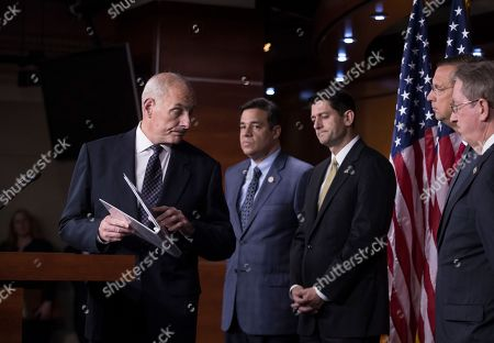 """Paul Ryan, John Kelly, Bob Goodlatte, Doug Collins, Raul Labrador Homeland Security Secretary John Kelly, left, finishes a statement on immigration and sanctuary cities as he joins, from left, Rep. Raul Labrador, R-Idaho, chairman of the House Judiciary Subcommittee on Immigration, House Speaker Paul Ryan, R-Wis., Rep. Doug Collins, R-Ga., and House Judiciary Committee Chairman Bob Goodlatte, R-Va., during a news conference at the Capitol in Washington, . The Republican-led House pushes ahead on legislation to crack down on illegal immigration. One bill would strip federal funds from """"sanctuary"""" cities that shield residents from federal immigration authorities, while a separate bill would stiffen punishments on people who re-enter the U.S. Illegally"""