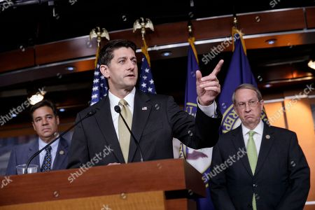 """Paul Ryan, Bob Goodlatte, Raul Labrador House Speaker Paul Ryan, R-Wis., is joined by Rep. Raul Labrador, R-Idaho, left, chairman of the House Judiciary Subcommittee on Immigration and Border Security, and House Judiciary Committee Chairman Bob Goodlatte, R-Va., as the Republican-led House pushes ahead on legislation to crack down on illegal immigration, during a news conference at the Capitol in Washington, . One bill would strip federal funds from """"sanctuary"""" cities that shield residents from federal immigration authorities, while a separate bill would stiffen punishments on people who re-enter the U.S. Illegally"""