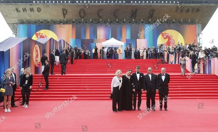 Members of the main competition jury (C-L-R) German film funding advisor Brigitta Manthey, Italian actress Ornella Muti, Spanish filmmaker and screenwriter Albert Serra, Iranian director and producer Reza Mirkarimi and Finnish director Joern Donner pose on the red carpet during the closing ceremony of the 39th Moscow International Film Festival at the Rossiya Theatre in Moscow, Russia, 29 June 2017. The festival ran from 22 to 29 June.