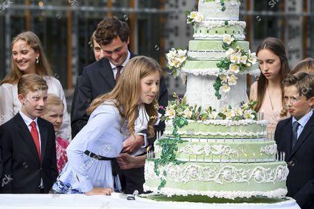 Queen Paola, Princess Elisabeth, Prince Emmanuel, Prince Gabriel, Princess Eleonore, Prince Amedeo, Princess Anna Astrid, Elisabetta Rosbosch von Wolkenstein, Princess Louise, PPrince Aymeric, Prince Nicolas and Princess Luisa Maria