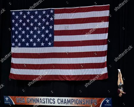 Paige Howard performs on the double mini trampoline during the USA Gymnastics Championships, in Milwaukee