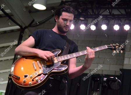 Guitarist Sean Parkin of the band Alvarez Kings performs live at Henry Maier Festival Park during Summerfest in Milwaukee, Wisconsin