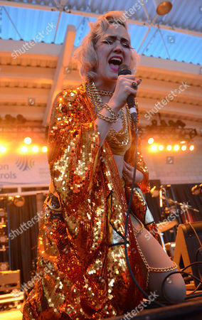 Lead singer Margaret Butler of the band GGOOLLDD performs live at Henry Maier Festival Park during Summerfest in Milwaukee, Wisconsin