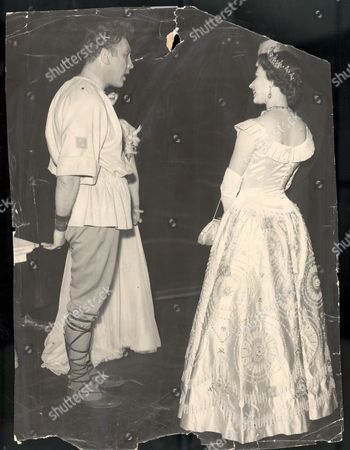 The Queen Elizabeth II At The Theatre March 1958 The Queen Paused For A Few Moments To Speak To Comedian - Turned - Shakespearean Actor Frankie Howerd - Bottom In A Midsummer Night's Dream. And She Had A Few Words For Moira Shearer (died January 2006) (titania) Beside Frankie.