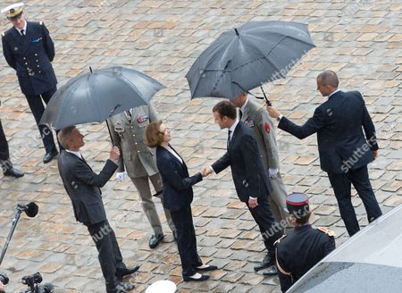 French Defense Minister Florence Pagny and Emmanuel Macron