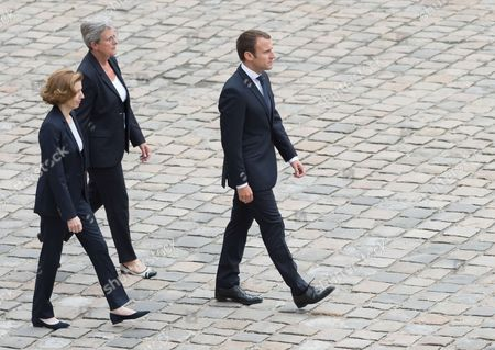 Florence Pagny, French Junior Defence Minister Genevieve Darrieussecq and Emmanuel Macron