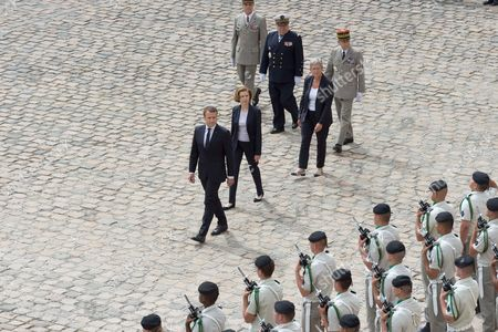 Emmanuel Macron, French Defense Minister Florence Pagny and French Junior Defence Minister Genevieve Darrieussecq