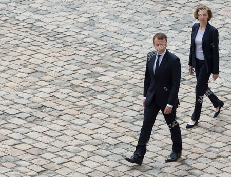 Emmanuel Macron and French Defense Minister Florence Pagny