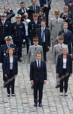 French Defense Minister Florence Pagny, Emmanuel Macron and French Junior Defence Minister Genevieve Darrieussecq