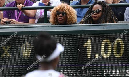 Venus Williams mother Oracene Price looks on