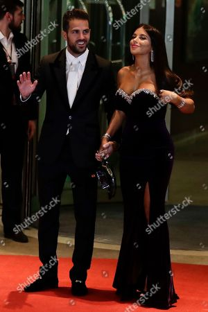 Daniella Semaan, Cesc Fabregas Chelsea's Cesc Fabregas, left, and girlfriend Daniella Semaan pose for a photo at they arrive to attend the wedding of Lionel Messi and Antonella Roccuzzo, in Rosario, Argentina,. Some 260 guests, including teammates and former teammates of the Barcelona soccer star, are attending the highly anticipated ceremony
