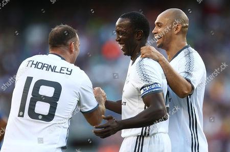 Ben Thornley, Dwight Yorke and Danny Webber of Manchester United celebrating goal (0-3).