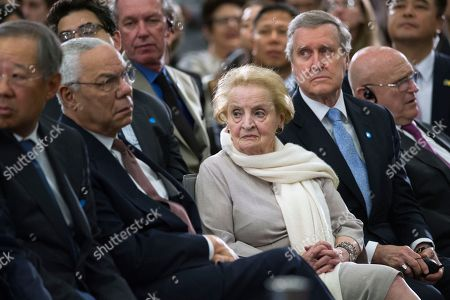 Stock Photo of Former Secretary of State Colin Powell, left, former Secretary of State Madeleine Albright, center, and former Secretary of Defense William Cohen, right, listen as South Korean Moon Jae-In speaks at the Center for Strategic and International Studies in Washington