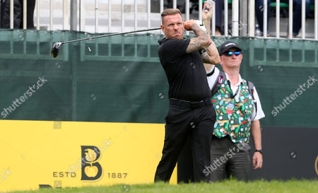 Craig Bellamy playing golf in the Celebrity Cup at the Celtic Manor, Newport, South Wales.