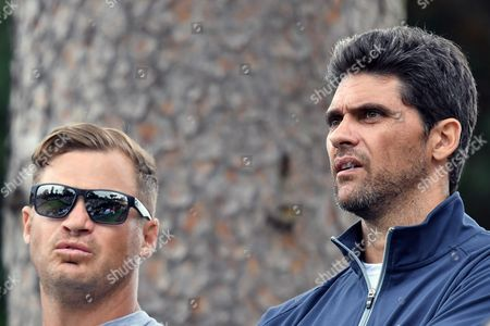 Mark Philippoussis watches Nick Kyrgios (AUS) closely during The Boodles 2017 at Stoke Park, Farnham Royal