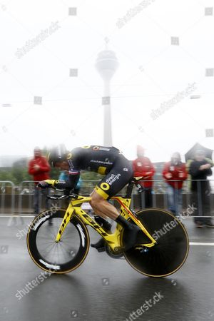 Direct Energie team rider Sylvain Chavanel of France in action during the 1st stage of the 104th edition of the Tour de France 2017 cycling race, an individual time trial over 14Km in Duesseldorf, Germany, 01 July 2017.