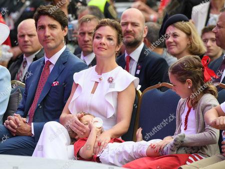 Prime Minister Justin Trudeau Sophie Grégoire Trudeau Ella-Grace Margaret Trudeau, Xavier James Trudeau, Hadrien Trudeau during the Canada Day celebrations on Parliament Hill, Ottawa, Ontario