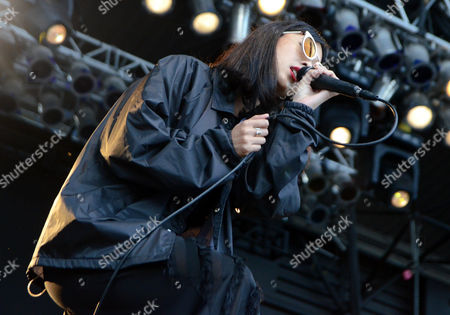 Vocalist Alisa Xayalith of the band The Naked And Famous performs live at Henry Maier Festival Park during Summerfest in Milwaukee, Wisconsin