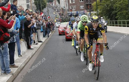 (R-L) Direct Energie team rider Thomas Boudat of France, Cannondale Drapac Professional Cycling Team rider Taylor Phinney of US, Team Fortuneo Oscaro rider Laurent Pichon of France and Wanty Groupe Gobert team rider Yoann Offredo of France in action during the 2nd stage of the 104th edition of the Tour de France cycling race over 203,5km between Duesseldorf and Liege, Germany, 02 July 2017.
