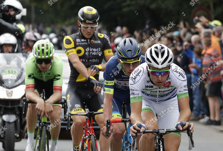 (R-L) Team Fortuneo Oscaro rider Laurent Pichon of France, Wanty Groupe Gobert team rider Yoann Offredo of France, Direct Energie team rider Thomas Boudat of France and Cannondale Drapac Professional Cycling Team rider Taylor Phinney of US in action during the 2nd stage of the 104th edition of the Tour de France cycling race over 203,5km between Duesseldorf and Liege, Germany, 02 July 2017.