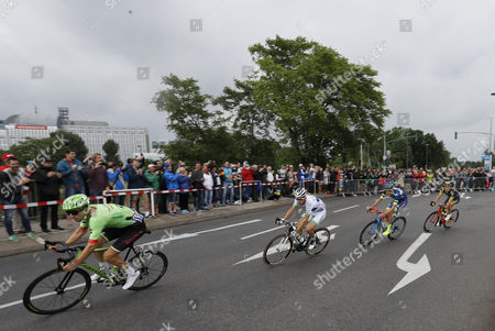 (R-L) Cannondale Drapac Professional Cycling Team rider Taylor Phinney of US, Team Fortuneo Oscaro rider Laurent Pichon of France, Wanty Groupe Gobert team rider Yoann Offredo of France and Direct Energie team rider Thomas Boudat of France in action during the 2nd stage of the 104th edition of the Tour de France cycling race over 203,5km between Duesseldorf and Liege, Germany, 02 July 2017.