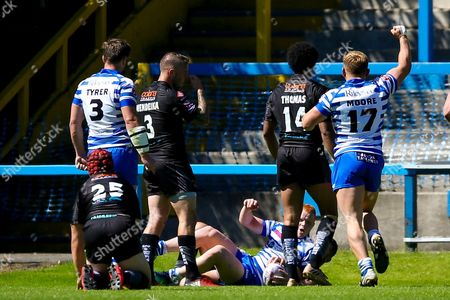 First try for Halifax scored by Josh Wood during the Kingstone Press Championship match between Halifax RLFC and Bradford Bulls at the MBi Shay Stadium, Halifax