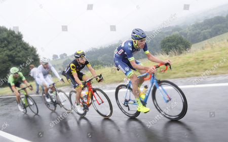 (R-L) Wanty Groupe Gobert team rider Yoann Offredo of France, Direct Energie team rider Thomas Boudat of France, Team Fortuneo Oscaro rider Laurent Pichon of France and Cannondale Drapac Professional Cycling Team rider Taylor Phinney of the US in action during the 2nd stage of the 104th edition of the Tour de France cycling race over 203.5 km between Duesseldorf and Liege, Belgium, 02 July 2017.