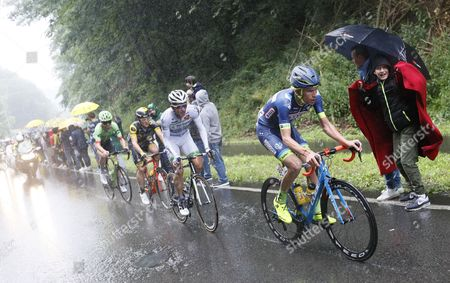 (R-L) Wanty Groupe Gobert team rider Yoann Offredo of France, Team Fortuneo Oscaro rider Laurent Pichon of France, Direct Energie team rider Thomas Boudat of France and Cannondale Drapac Professional Cycling Team rider Taylor Phinney of the US in action during the 2nd stage of the 104th edition of the Tour de France cycling race over 203.5 km between Duesseldorf and Liege, Belgium, 02 July 2017.