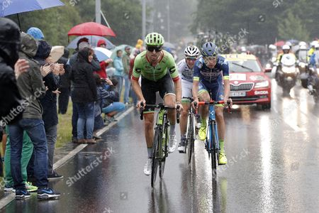 US rider Taylor Phinney (L) of Cannondale Drapac in a breakaway group during the 2nd stage of the 104th edition of the Tour de France cycling race over 203.5 km between Duesseldorf and Liege, Belgium, 02 July 2017.