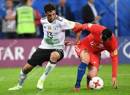 Chile's Gonzalo Jara (R) in action against Germany's Lars Stindl during the FIFA Confederations Cup 2017 final match between Chile and Germany at the Saint Petersburg stadium in St.Petersburg, Russia, 02 July 2017.
