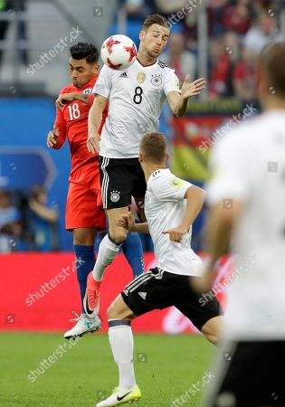 Chile's Gonzalo Jara, left, jumps for the ball with Germany's Leon Goretzka during the Confederations Cup final soccer match between Chile and Germany, at the St.Petersburg Stadium, Russia