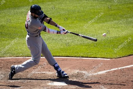 Stock Picture of Tampa Bay Rays designated hitter Steven Souza Jr. (20) doubles during MLB game between Tampa Bay Rays and Baltimore Orioles at Oriole Park at Camden Yards in Baltimore, Maryland