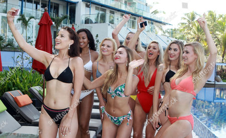 Maisie Hobbs Miss Nottinghamshire age 17, Rachel Pitman Miss Hertfordshire Age 23, Jennifer Atkin Miss Yorkshire Age 24, Cheraleigh Van Zanten Miss Hippodrome Age 20, Elizabeth Grant Miss England 2016, Zoe-Lea Dale Miss Manchester Age 22, Olivia Green Miss Genting Stoke Age 20, Paris Summer Allen Miss Rugby Age 19