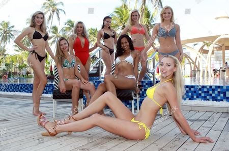 Stock Photo of Maisie Hobbs Miss Nottinghamshire age 17, Rachel Pitman Miss Hertfordshire Age 23, Jennifer Atkin Miss Yorkshire Age 24, Cheraleigh Van Zanten Miss Hippodrome Age 20, Elizabeth Grant Miss England 2016, Zoe-Lea Dale Miss Manchester Age 22, Olivia Green Miss Genting Stoke Age 20, Paris Summer Allen Miss Rugby Age 19