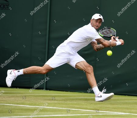 Andreas Haider-Maurer of Austria returns to Roberto Bautista Agut of Spain in their first round match during the Wimbledon Championships at the All England Lawn Tennis Club, in London, Britain, 03 July 2017.