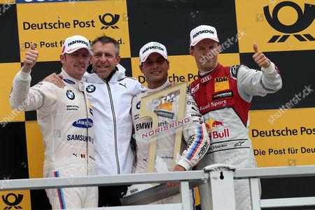 Podium: 2.Platz fuer Maxime Martin (BEL#36) BMW Team RBM, Samsung BMW M4 DTM,  winner  Bruno Spengler (CDN#7) BMW Team RBM, BMW Bank M4 DTM , 3.Platz fuer Mattias Ekstroem (SWE#5) Audi Sport Team Abt Sportsline, Red Bull Audi RS 5 DTM