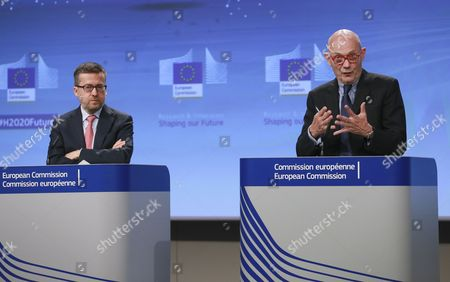EU Commissioner responsible for Research, Science and Innovation, Portuguese, Carlos Moedas (L) and Pascal Lamy (R), the chair of the High Level Group on maximising the impact of European research and innovation programmes, give a press briefing to present report on the role of research and innovation for Europe's future in Brussels, Belgium, 03 July 2017. Lamy presented the Group's vision and recommendations for the future, based on the results of the interim evaluation of Horizon 2020, an EU Research and Innovation programme funded with some 80 billion euro over seven years between 2014 to 2020.