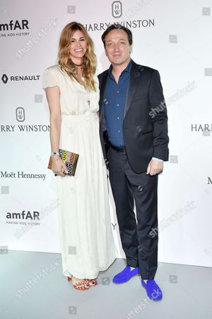 Stock Photo of Emmanuel Perrotin and his wife attend the amfAR Paris Dinner 2017 at Le Petit Palais