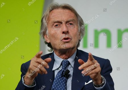 NTV President Luca Cordero di Montezemolo gestures as he attends a conference titled 'The Innovation Summit', in Milan, Italy