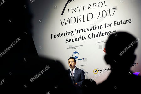 Interpol President, Meng Hongwei, delivers his opening address at the Interpol World congress, in Singapore